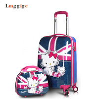 "20""24""inch Hello Kitty Luggage Sets,Woman Child Universal wheels Trolley,Lovely cartoon KT graffiti suitcase,MIC New travel case"