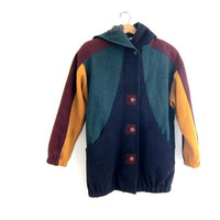 vintage Multi-color WOOL Coat with hood // retro 80s Coat // Saved by the Bell Coat // Color Block Coat. women's size S