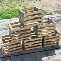 Wedding Decor - Lot of 6 Reclaimed Wood Crates - Rustic Crate Centerpiece