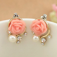 OL Pink Rose Flower Shiny Crystal Rhinestone Pearl Stud Earrings Women Jewelry Korean Style SM6
