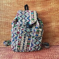 Tribal Boho Backpack Hill tribe Styles Fabric Woven Ethnic ikat design Overnight travel school bag Hippies Gypsy hipste Gift for men women