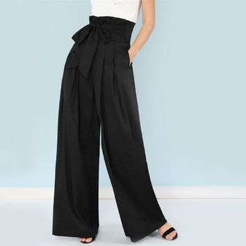Self Belted Box Pleated Palazzo Pants Women Elegant Loose Long Pants Fall Ginger High Waist Wide Leg Pants