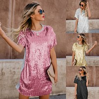 2020 new women's short skirt sequin stitching short sleeve dress