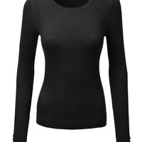 LE3NO Womens Basic Fitted Long Sleeve Ribbed Top (CLEARANCE)