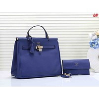 Hermes Classic Fashion Women Shopping Bag Leather Handbag Tote Shoulder Bag Crossbody Satchel Two Piece Set Blue
