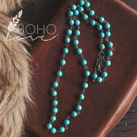 Boho Love Celebration Turquoise Beaded Necklace
