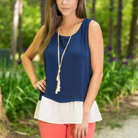 Come Sailing With Me Tank, Navy
