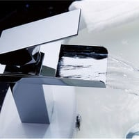 Single-Handle Waterfall Contemporary Bathroom Sink Faucet