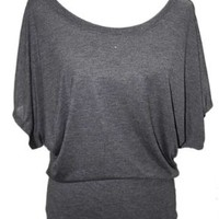YogaColors Crystal Boatneck Dolman Sleeve Blouse Jersey Tee Up to Plus Size (XX-Large, Dark Heather)