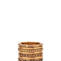 FOREVER 21 Etched Stackable Ring Set Antic Gold