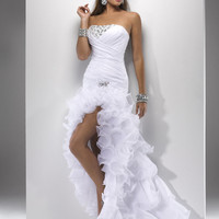 White Gathered & Ruffled Organza Strapless Drop Waist Prom Dress - Unique Vintage - Cocktail, Pinup, Holiday & Prom Dresses.