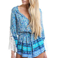 Blue Floral Lace Accent Bell Sleeve Surplice V-Neck Blouson Pleated Rompers
