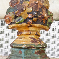 Cast Iron Flower Urn Doorstop, Painted Chippy Doorstop, Unknown Foundry