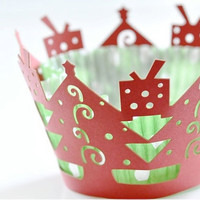 Laser Cut Lace Cupcake Wrappers - Xmas Tree x 20