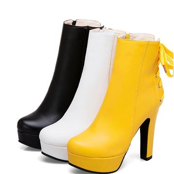 New round head super high waterproof platform high thick heel back lace-up side zipper ankle boots shoes