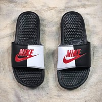 Nike Benassi Swoosh Beach Slippers Black White Red Sandals - Sale