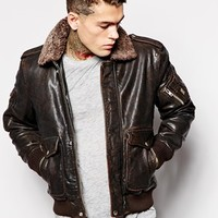Diesel Tarun Leather Jacket with Borg Collar