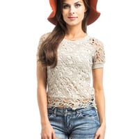 Summer Sand Dune Tan Lined Open Knit Top