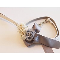 Silver wedding dog Leash, Wedding accessory, High quality Leather, Spring wedding accessory, Dog Leash