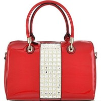Bling Stones Boston Bag Patent Leather Purse Red
