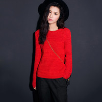 Red Long-Sleeve Knitted Sweater