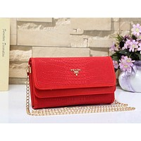 Prada New Popular Women Shopping Bag Leather Zipper Wallet Purse Crossbody Satchel Shoulder Bag Red I/A