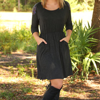Get Your Shine On Dress: Charcoal Gray
