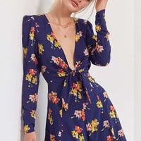Kimchi Blue Maddie Plunging Tie-Front Romper | Urban Outfitters