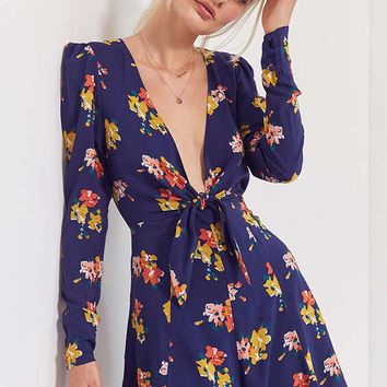 Kimchi Blue Maddie Plunging Tie-Front Romper   Urban Outfitters