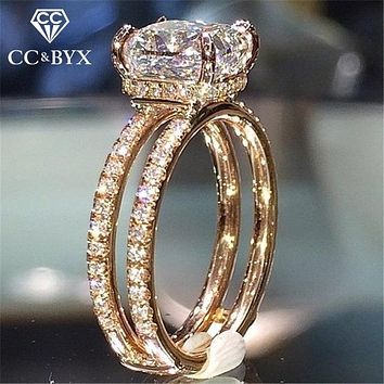 CC Wedding Rings For Women Double Layer Princess Cubic Zirconia Square Stone Ring Engagement Bridal Romantic Jewelry CC2188