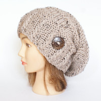 Tweed slouch hat women - beanies hat - Slouchy Beanie - Large hat - chunky hat - Chunky Knit Winter Fall Accessories , Slouchy hat button
