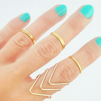 5 Above The Knuckle Gold Rings - Gold Midi Ring Set - Dainty Gold Rings - Thin Gold Shiny Bands - Set Of 5 Stack Midi Rings