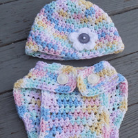 Crochet Diaper Cover and Beanie, Baby Girl Variegated Cotton Soaker , Crochet Photo Prop, Cotton Diaper Cover Set