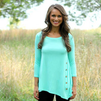 Plain Sleeve Side Button-Down Asymmetrical Shirt