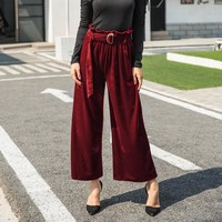 Casual High Waist Velvet Pants [96254263311]