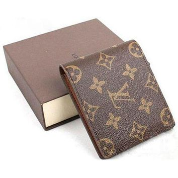 LV Louis Vuitton Classic Stylish Women Men Leather Folding Purse Wallet(4-Color) I/A