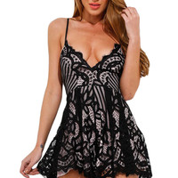 Black Lace V Neck Nude Illusion Flowy Playsuit