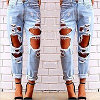 Fashion Casual Big Ripped Worn Tassel  Loose Jeans Pants Trousers