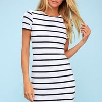 Drop Me a Line Navy Blue and White Striped Bodycon Dress