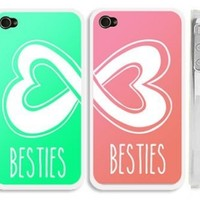 "Set of 2 Mint Blue Green and Coral Best Friends iphone 4 Case- ""Besties"" iPhone 4s Case with Infinity Heart Logo"