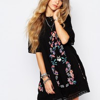 Free People Victorian Embroidered Smock Dress in Black