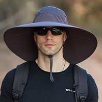 Mens Bucket Hat Waterproof Mesh Breathable Sunshade Cap Oversized Brim With String For Outdoor Fishing Hat Climbing