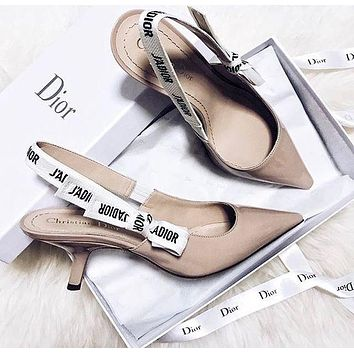 Dior CD sexy ladies cat high heels bow letters patent leather pointed high heels