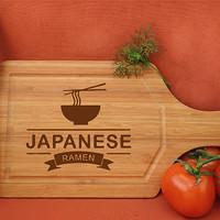 ikb412 Personalized Cutting Board Wood Asian food Japanese restaurant cuisine