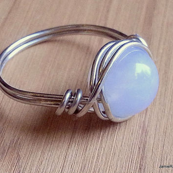 Silver Wire Wrapped Blue Chalcedony Ring, Blue Gemstone Wrap Silver Wire Ring, Boho Hippie Ring, Wedding Bridesmaid Jewelry Stone Wrap Ring