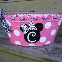 Personalized Minnie Mouse metal tub-assorted colors available