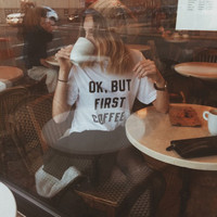 first coffee Print T-Shirts for Women Tee Summer Gift-116