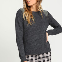 Charcoal Bejeweled Beaded Knit Sweater