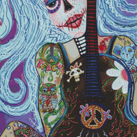 Modern Cross Stitch Kit 'Flower Childs Song' By Laura Barbosa - Day of the Dead NeedleCraft Kit