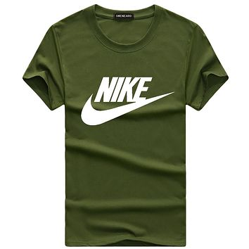 NIKE summer men and women classic chest big logo comfortable round neck T-shirt F-A000-PPNZ Green